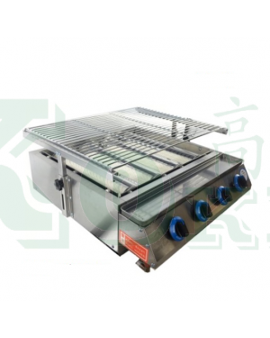 4BURNER S/S BBQ GRILL W/GLASS COVER